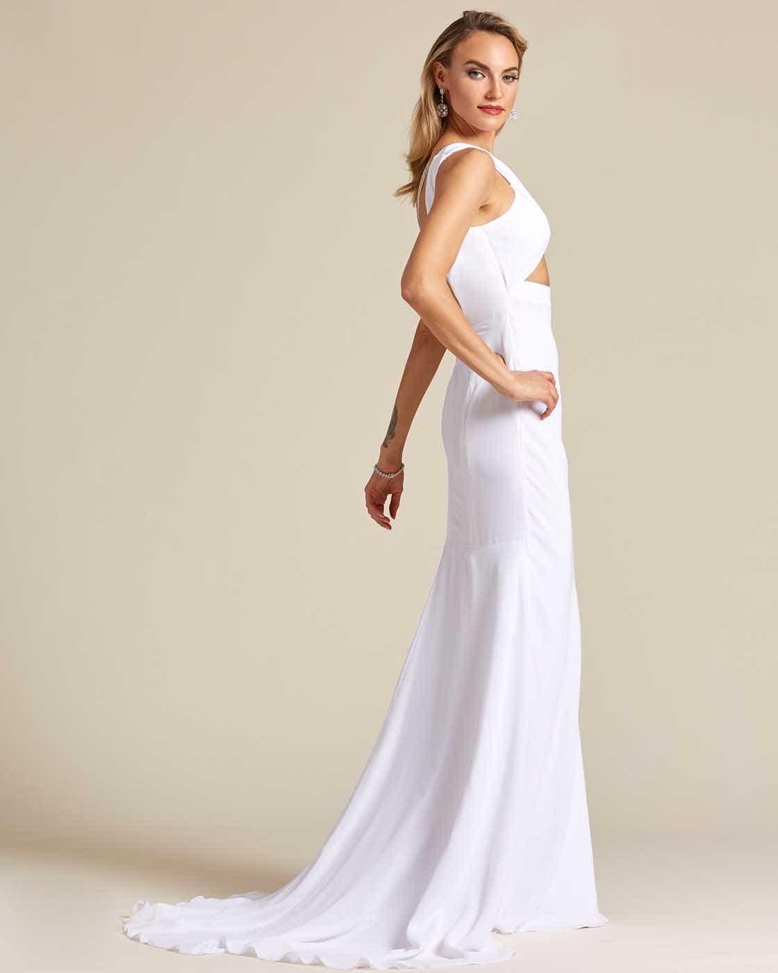 Ivory White Criss Cross Wedding Dress - Side