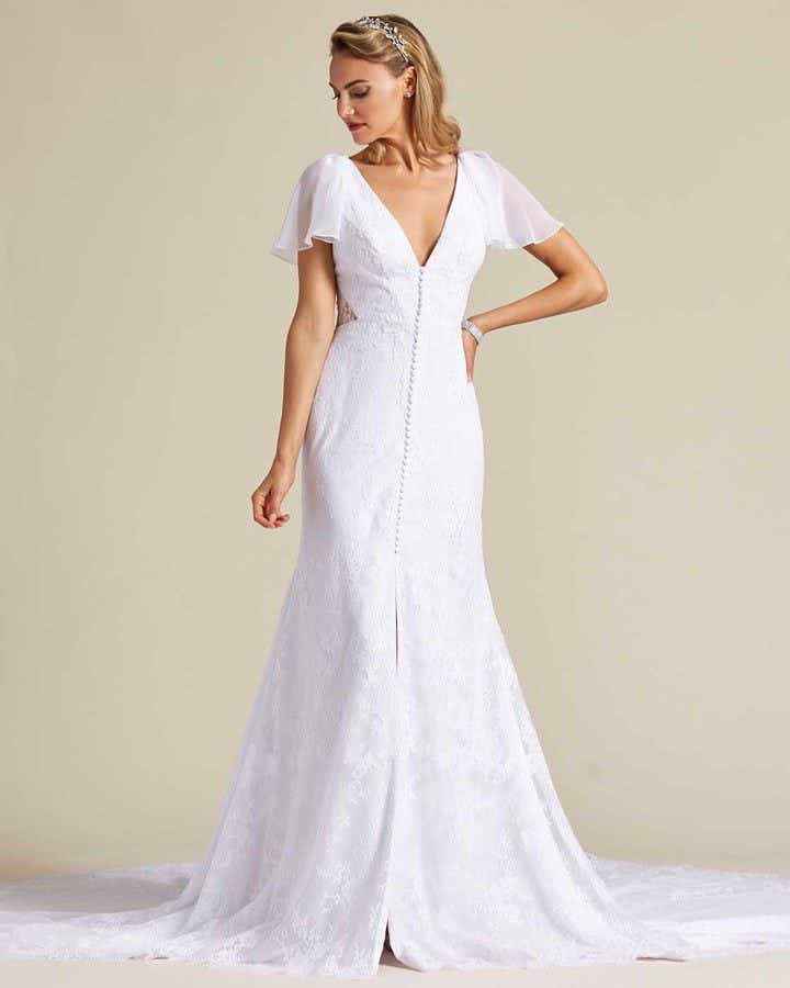 White Sheer Cap Sleeve Wedding Gown - Front