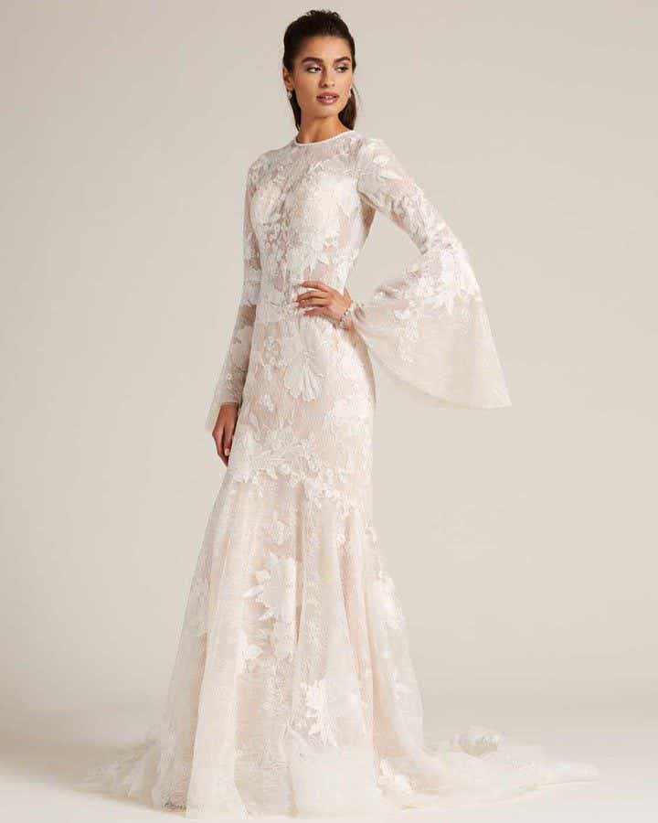 Champagne Bell Sleeves Embroidered Wedding Dress - Front