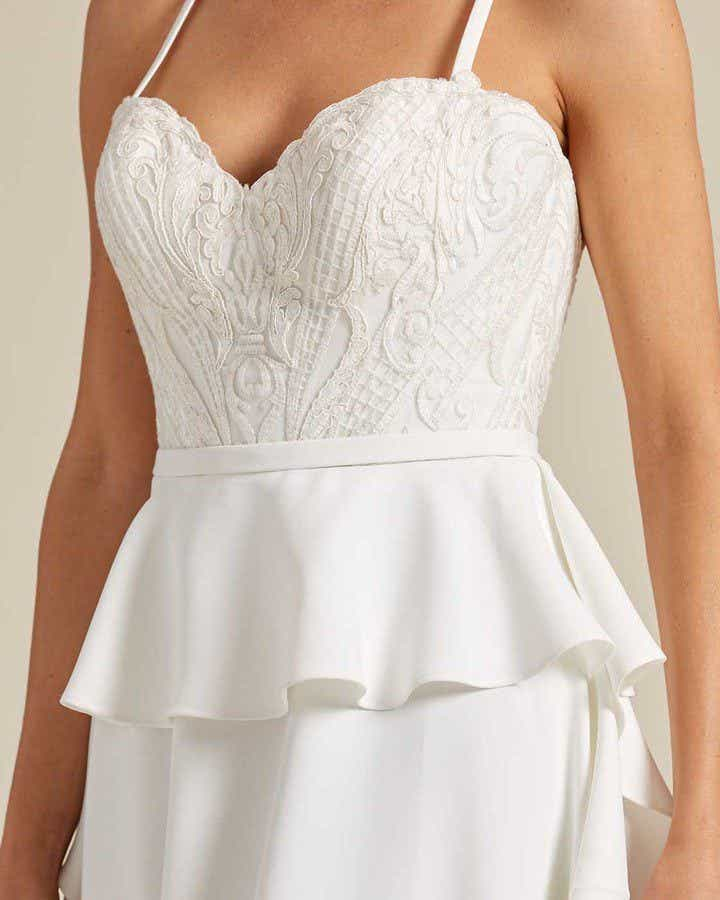 White Ballerina Waist Wedding Dress - Detail